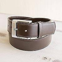 Men's leather belt, 'Subtle Elegance in Brown' - Hand Crafted Dark Brown Men's Leather Belt