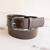 Men's leather belt, 'Smooth Elegance' - Handmade Dark Brown Men's Belt