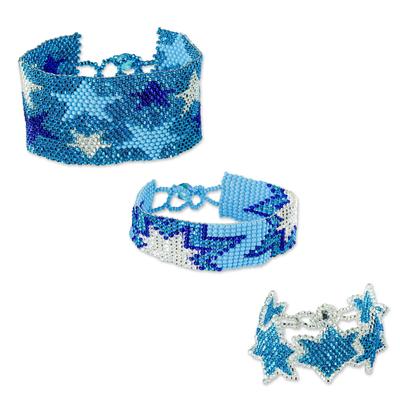 Turquoise Star Motif Beaded Friendship Bracelets (Set of 3)