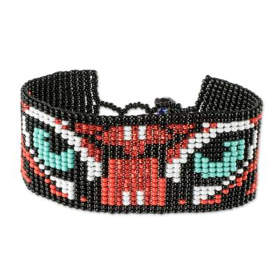 Multicolored Beaded Tiger Motif Bracelet