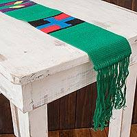 Cotton table runner, 'Solola Totem in Green' - Long Cotton Table Runner in Green
