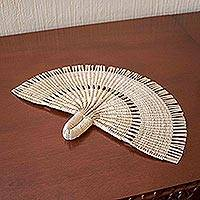 Natural fiber hand fan, 'Peacock Tail' - Hand Woven Natural Fiber Hand Fan