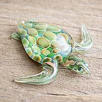 Art glass figurine, 'Leatherback Turtle' - Small Green Art Glass Turtle Sculpture