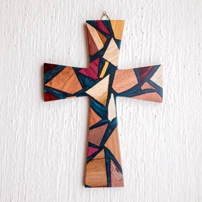 Reclaimed wood wall cross, 'Faith and Hope in Teal' - Reclaimed Wood and Resin Wall Cross