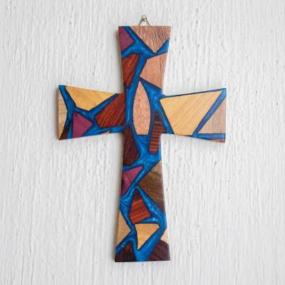 Reclaimed wood wall cross, 'Faith and Hope in Blue' - Hand Crafted Reclaimed Wood Wall Cross