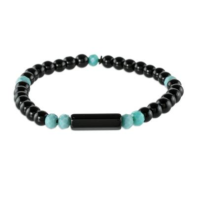 Unisex Beaded Onyx Bracelet with Crystal Accents