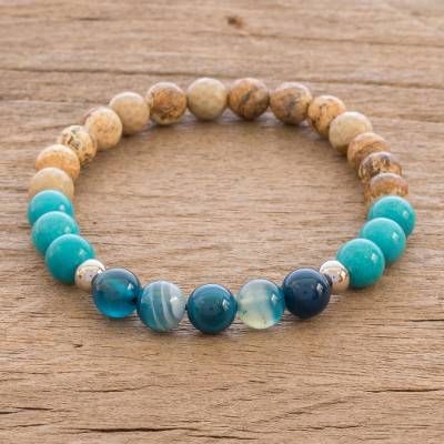 Multi-gemstone beaded stretch bracelet, Sand and Surf