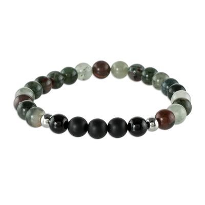 Multicolored Agate Beaded Stretch Bracelet
