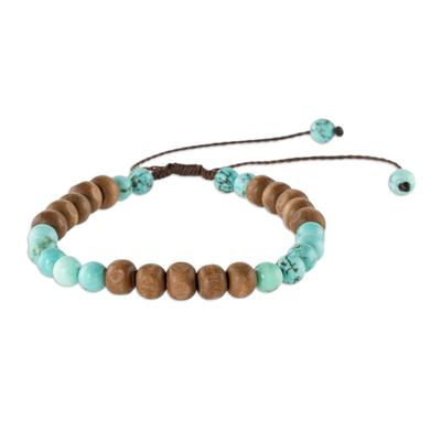 Unisex Wood and Recon Turquoise Bracelet