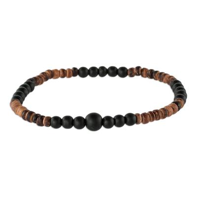 Coconut Shell and Onyx Bracelet
