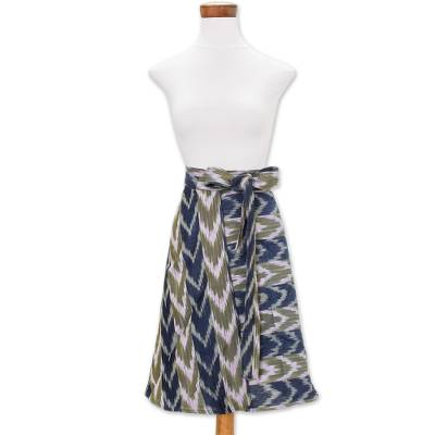 Cotton wrap skirt, 'Mixco' - Blue & Olive Cotton Jaspe Weave Wrap Skirt from Guatemala