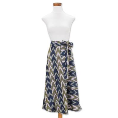 Cotton wrap maxi skirt, Mixco Maxi