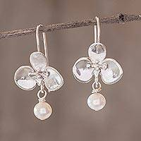 Cultured pearl dangle earrings, 'Sweet Orchid' - Flower Earrings with Cultured Pearls