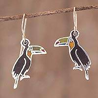Sterling silver and enamel dangle earrings, 'Bright Toucan' - Enameled Sterling Silver Toucan Earrings