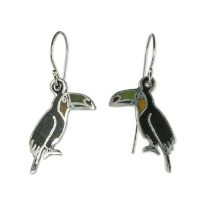 Sterling silver and enamel dangle earrings, 'Bright Toucan' - Enameled Sterling Silver Toucan Earrings