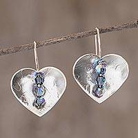 Sterling silver drop earrings, 'Take Heart'