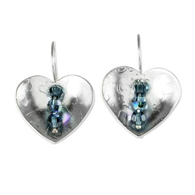Sterling silver drop earrings, 'Take Heart' - Heart-Shaped Sterling Silver Earrings