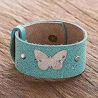 Leather and sterling silver wristband bracelet, 'Butterfly Medallion' - Blue Leather Wristband Bracelet with Butterfly
