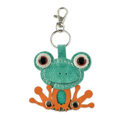 Leather key fob, 'Green Froggy' - Leather Frog Key Fob from Costa Rica