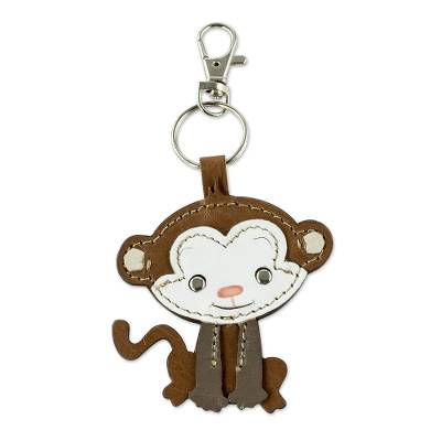 Artisan Crafted Monkey Key Fob in Leather