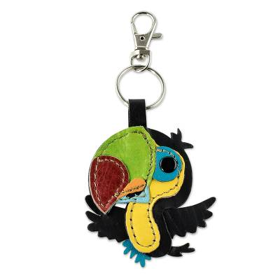 Leather key fob, 'Bright Toucan' - Handmade Colorful Leather Toucan Key Fob
