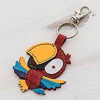 Leather keychain or bag charm, 'Rainbow Parrot' - Handmade Parrot Leather Keychain Bag Charm From Costa Rica