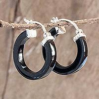 Jade hoop earrings, 'Conexion in Black' - Guatemalan Black Jade Sterling Silver Hoop Earrings