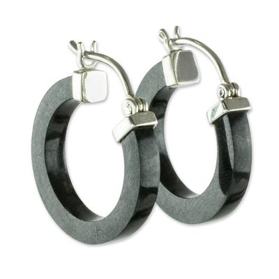 Jade hoop earrings, 'Conexion in Black' - Guatemalan Black Jade Sterling Silver Hoop Earrings