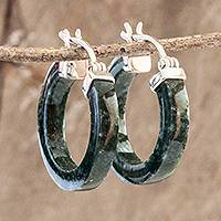 Jade hoop earrings, 'Conexion in Dark Green' - Guatemalan Dark Green Jade Sterling Silver Hoop Earrings