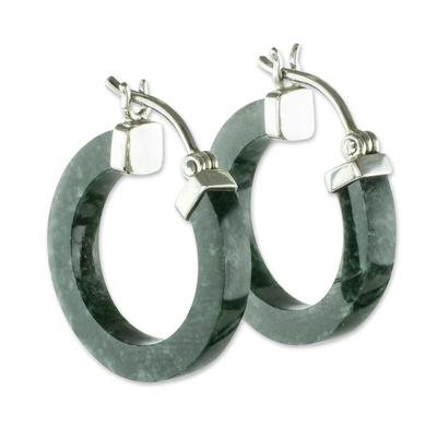 Jade hoop earrings, 'Conexion in Dark Green' - Guatemalan Dark Green Jade Sterling Silver Hoop Earrings