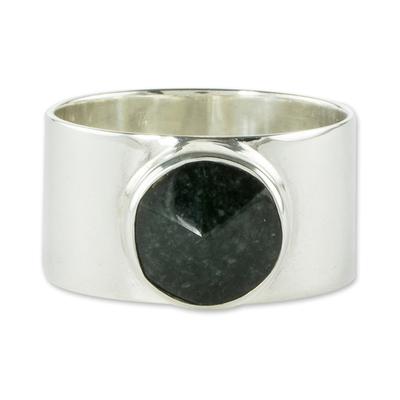 Jade cocktail ring, 'Santa Maria' - Guatemalan Dark Green Jade and Sterling Silver Ring