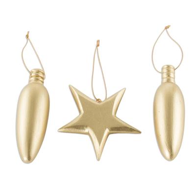 Handmade Golden Wood Christmas Ornaments (Set of 3)