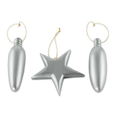 Silver Wood Christmas Ornaments (Set of 3) From Guatemala