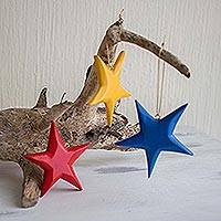 Wood ornaments, 'Primary Stars' (set of 3)