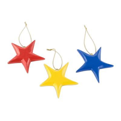 Wood ornaments, 'Primary Stars' (set of 3) - Hand Painted Wood Star Ornaments (Set of 3)