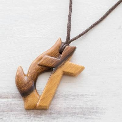 Reclaimed wood pendant necklace, 'Fiery Faith' - Unisex Wood Cross Pendant Necklace
