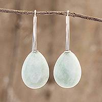 Jade drop earrings, 'Jupiter Rain in Green' - Light Green Jade and Sterling Silver Drop Earrings