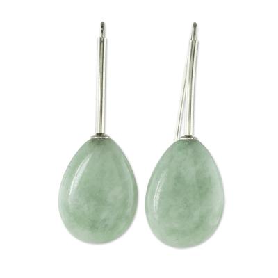 Jade drop earrings, 'Jupiter Rain in Green' - Light Green Jade and Sterling Silver Drop Earrings