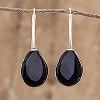 Jade drop earrings, 'Jupiter Rain in Black' - Black Jade and Sterling Silver Drop Earrings