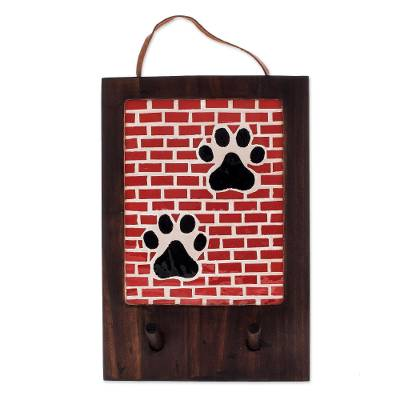 Glass Mosaic Dog Paw Key Hanger from Costa Rica