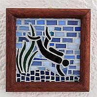 Glass mosaic wall plaque, 'Diving' - Stained Glass Ocean Mosaic Wall Plaque from Costa Rica