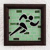 Glass mosaic and teak wood wall plaque, 'Athleticism' - Small Glass Mosaic Wall Plaque of Runner