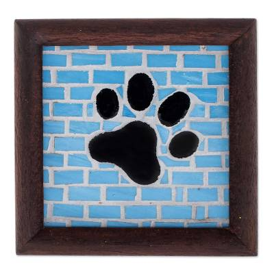 Stained Glass And Wood Dog Paw Wall Plaque From Costa Rica