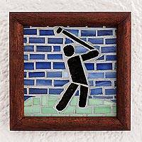 Glass mosaic and teak wood wall plaque, 'Golf' - Mosaic Golf Wall Accent