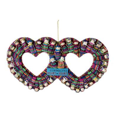 Cotton wreath, 'Connected Hearts' - Cotton Worry Doll Double Heart Wreath From Guatemala