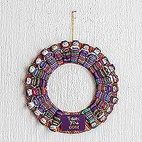Cotton wreath, 'Thank You God' - Hand-Loomed Cotton Worry Doll Wreath From Guatemala