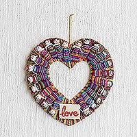 Cotton wreath, 'Amor' - Hand-Loomed Cotton Worry Doll Heart Wreath From Guatemala