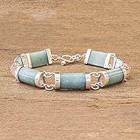 Jade link bracelet, 'Splendid Maya' - Link Bracelet with Guatemalan Jade
