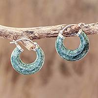 Jade hoop earrings, 'Zacapa Forest' - Green Jade Hoop Earrings