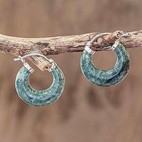 Jade hoop earrings, 'Zacapa Forest' - Green Jade Hoop Earrings